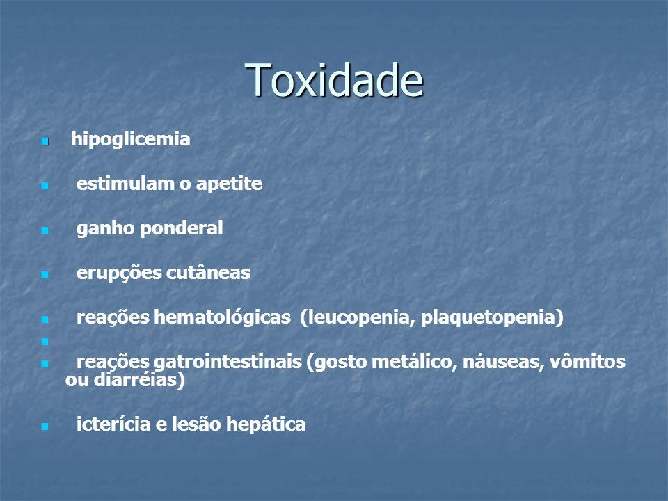 Toxidade hipoglicemia estimulam o apetite ganho ponderal erupções cutâneas reações hematológicas (leucopenia, plaquetopenia) reações gatrointestinais