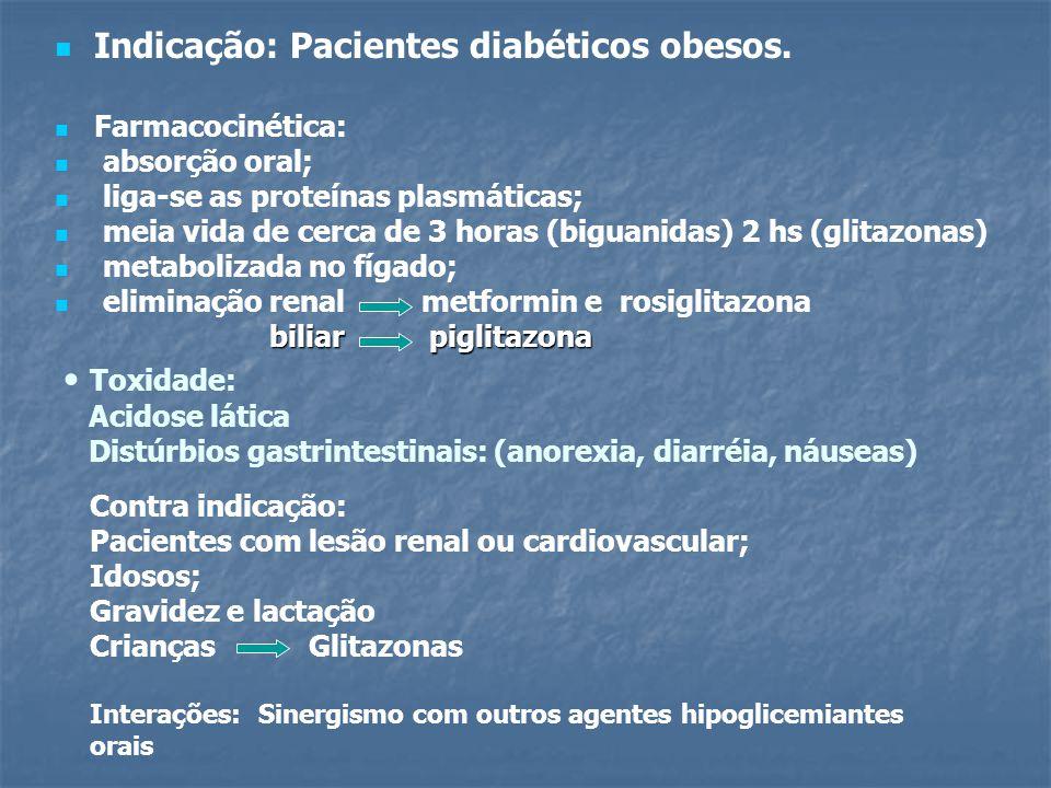 Indicação: Pacientes diabéticos obesos. Farmacocinética: absorção oral; liga-se as proteínas plasmáticas; meia vida de cerca de 3 horas (biguanidas) 2