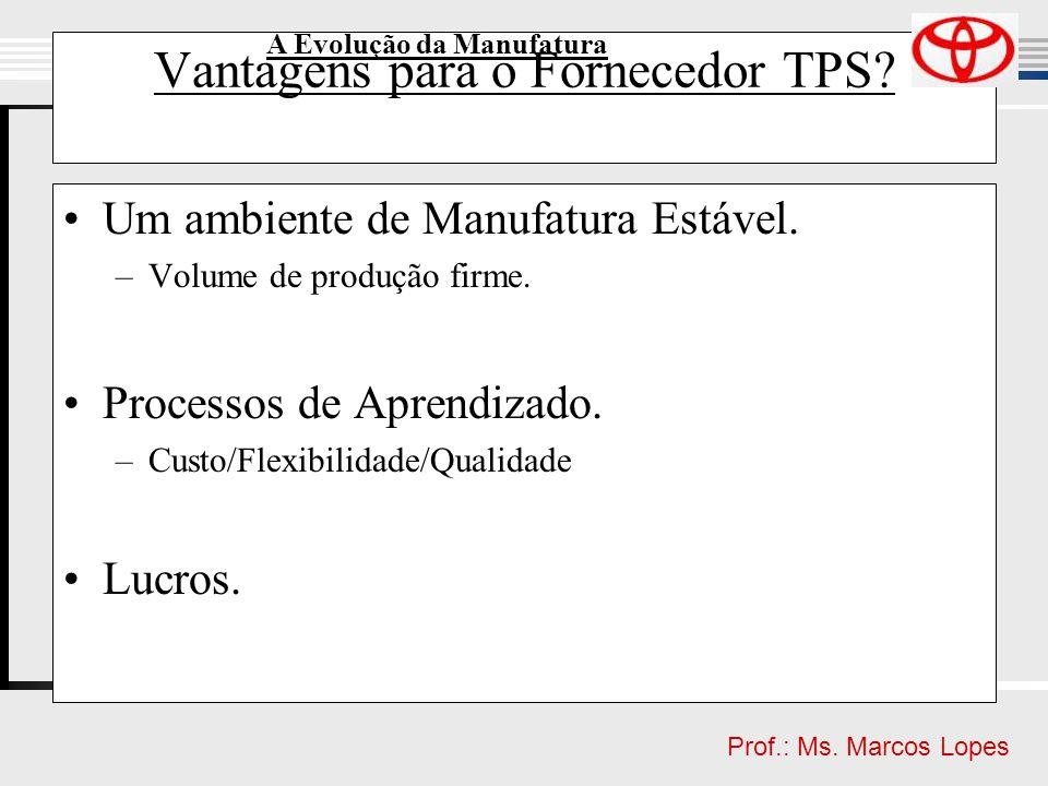 Clique para editar o estilo do título mestre Clique para editar o estilo do subtítulo mestre Prof.: Ms. Marcos Lopes Vantagens para o Fornecedor TPS?
