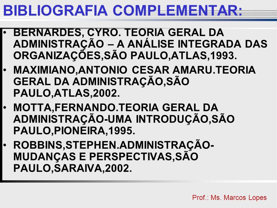 Clique para editar o estilo do título mestre Clique para editar o estilo do subtítulo mestre Prof.: Ms. Marcos Lopes BIBLIOGRAFIA COMPLEMENTAR: BERNAR