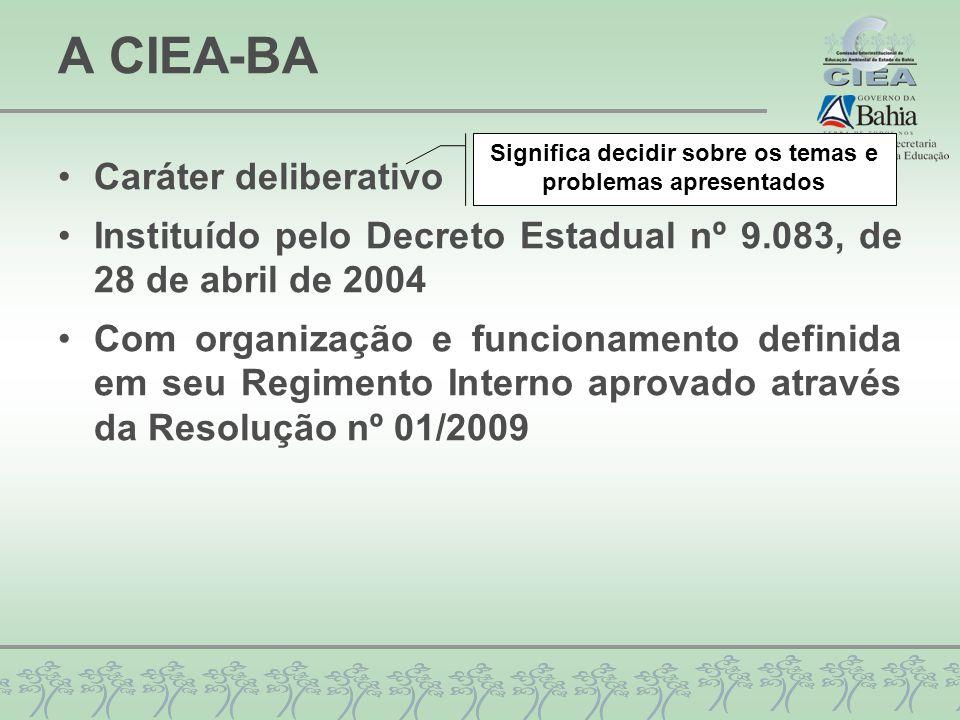 A CIEA-BA Caráter deliberativo Instituído pelo Decreto Estadual nº 9.083, de 28 de abril de 2004 Com organização e funcionamento definida em seu Regim