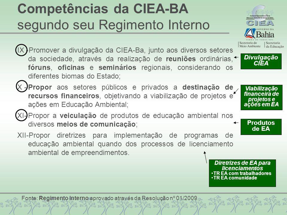 IX -Promover a divulgação da CIEA-Ba, junto aos diversos setores da sociedade, através da realização de reuniões ordinárias, fóruns, oficinas e seminá