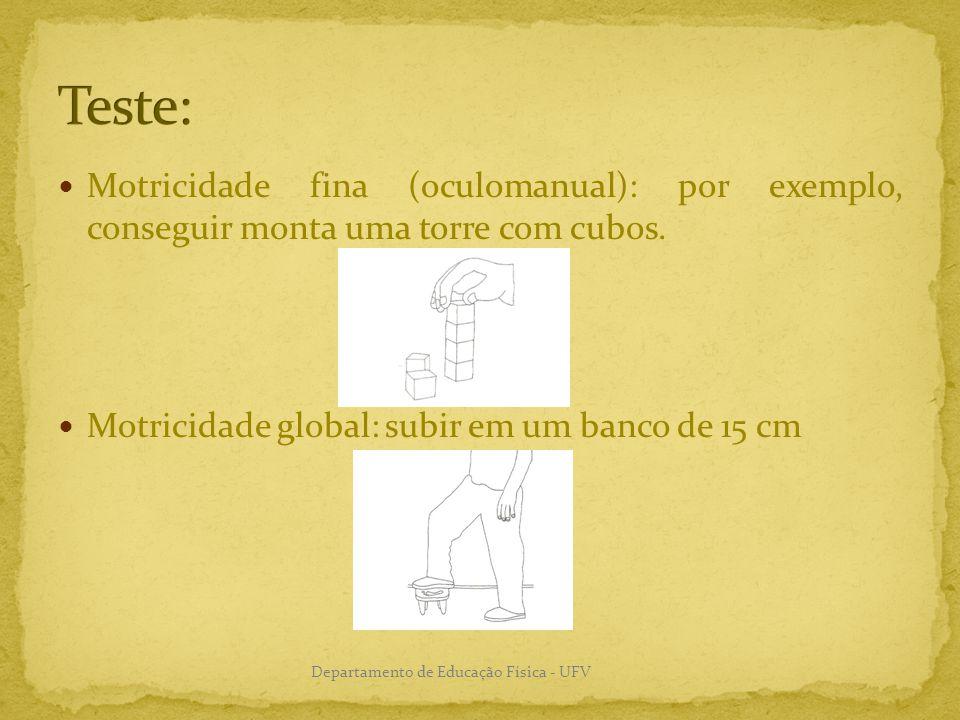Motricidade fina (oculomanual): por exemplo, conseguir monta uma torre com cubos. Motricidade global: subir em um banco de 15 cm Departamento de Educa