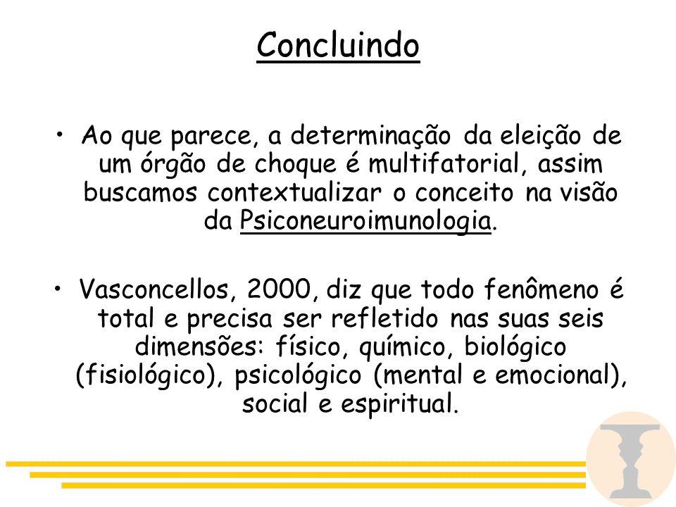 Concluindo Ao que parece, a determinação da eleição de um órgão de choque é multifatorial, assim buscamos contextualizar o conceito na visão da Psiconeuroimunologia.