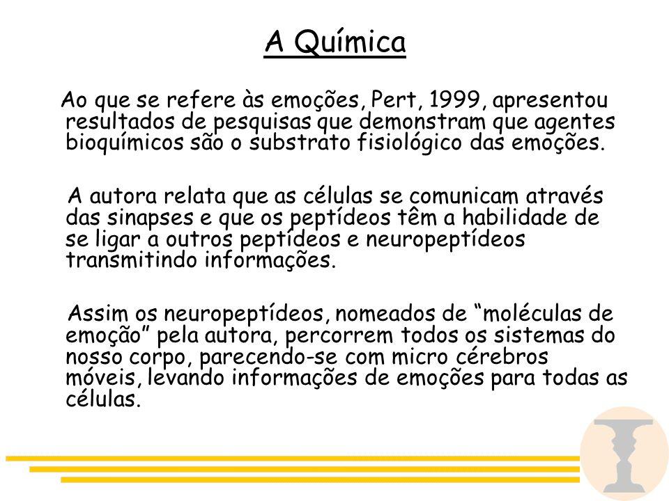 A Química Ao que se refere às emoções, Pert, 1999, apresentou resultados de pesquisas que demonstram que agentes bioquímicos são o substrato fisiológico das emoções.