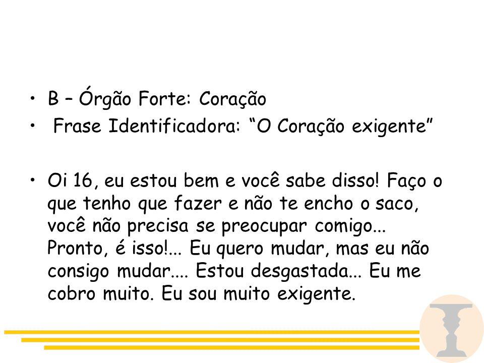 B – Órgão Forte: Coração Frase Identificadora: O Coração exigente Oi 16, eu estou bem e você sabe disso.