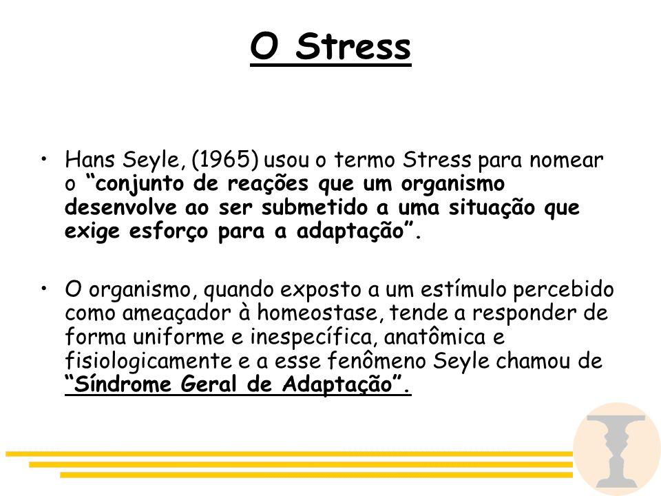 O Stress Hans Seyle, (1965) usou o termo Stress para nomear o conjunto de reações que um organismo desenvolve ao ser submetido a uma situação que exige esforço para a adaptação .