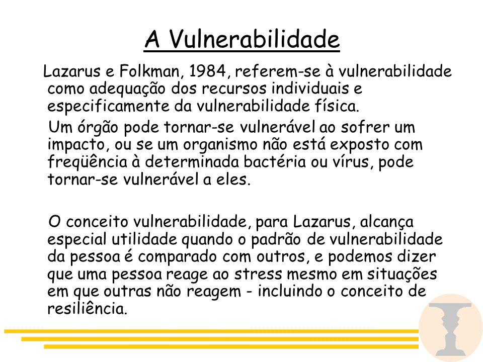 A Vulnerabilidade Lazarus e Folkman, 1984, referem-se à vulnerabilidade como adequação dos recursos individuais e especificamente da vulnerabilidade física.