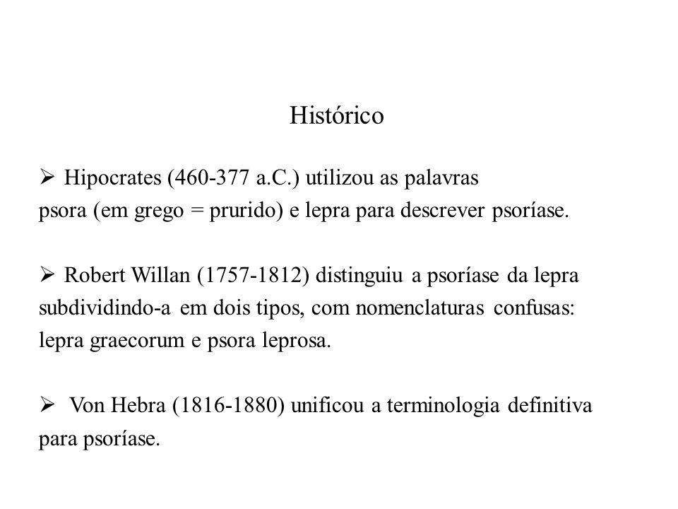 Histórico  Hipocrates (460-377 a.C.) utilizou as palavras psora (em grego = prurido) e lepra para descrever psoríase.