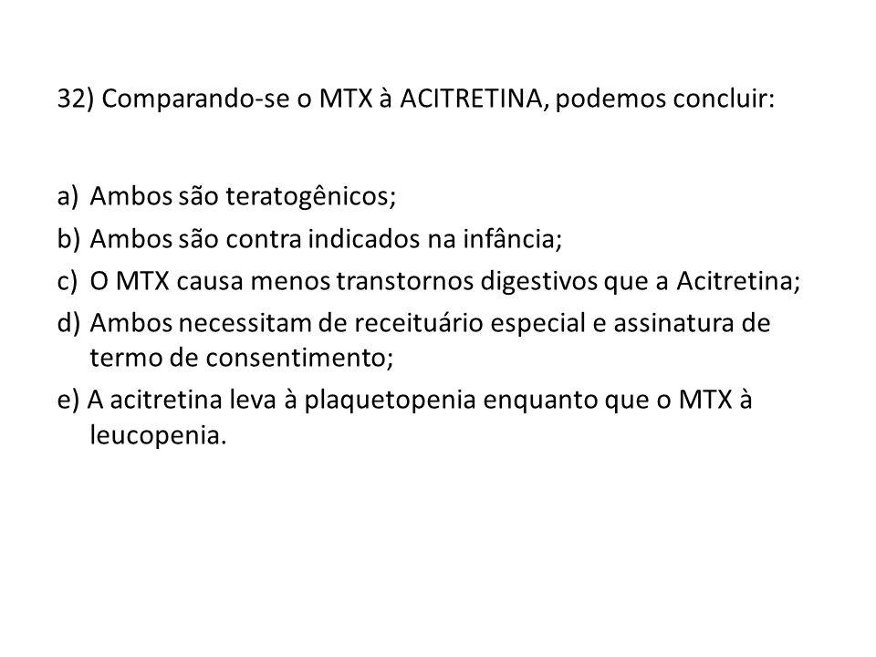 32) Comparando-se o MTX à ACITRETINA, podemos concluir: a)Ambos são teratogênicos; b)Ambos são contra indicados na infância; c)O MTX causa menos transtornos digestivos que a Acitretina; d)Ambos necessitam de receituário especial e assinatura de termo de consentimento; e) A acitretina leva à plaquetopenia enquanto que o MTX à leucopenia.
