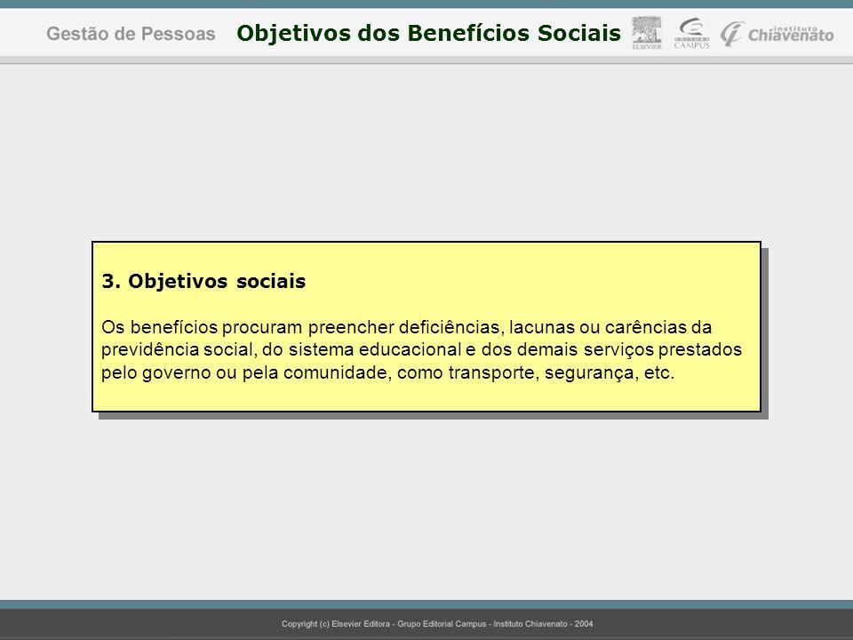 3. Objetivos sociais Os benefícios procuram preencher deficiências, lacunas ou carências da previdência social, do sistema educacional e dos demais se