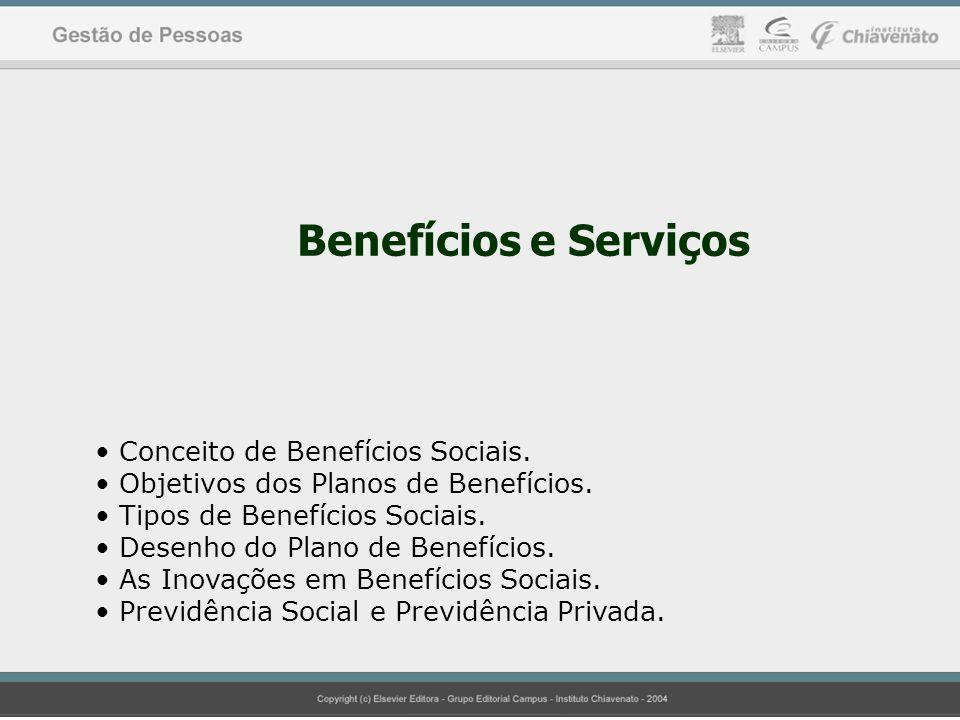 Benefícios e Serviços Conceito de Benefícios Sociais. Objetivos dos Planos de Benefícios. Tipos de Benefícios Sociais. Desenho do Plano de Benefícios.