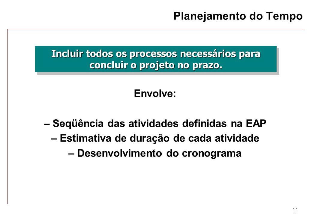 11 Planejamento do Tempo Incluir todos os processos necessários para concluir o projeto no prazo. Envolve: – Seqüência das atividades definidas na EAP