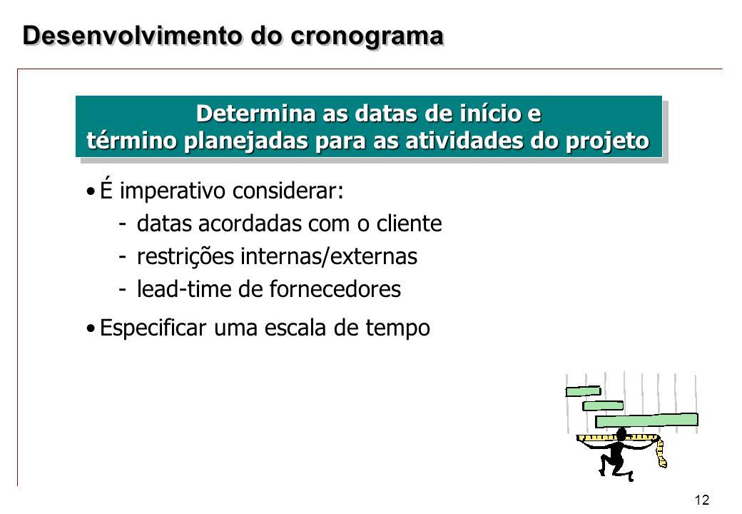 12 Determina as datas de início e término planejadas para as atividades do projeto É imperativo considerar: -datas acordadas com o cliente -restrições