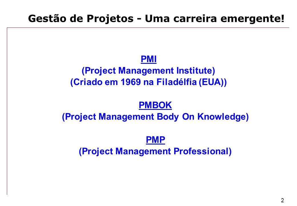 2 Gestão de Projetos - Uma carreira emergente! PMI (Project Management Institute) (Criado em 1969 na Filadélfia (EUA)) PMBOK (Project Management Body
