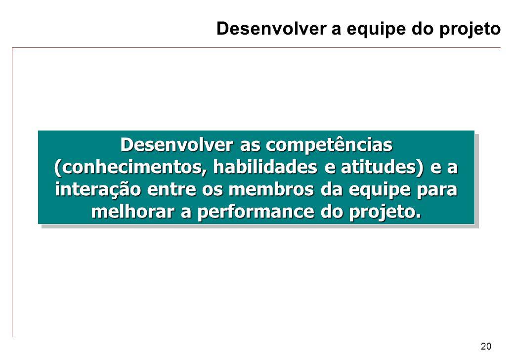 20 Desenvolver as competências (conhecimentos, habilidades e atitudes) e a interação entre os membros da equipe para melhorar a performance do projeto