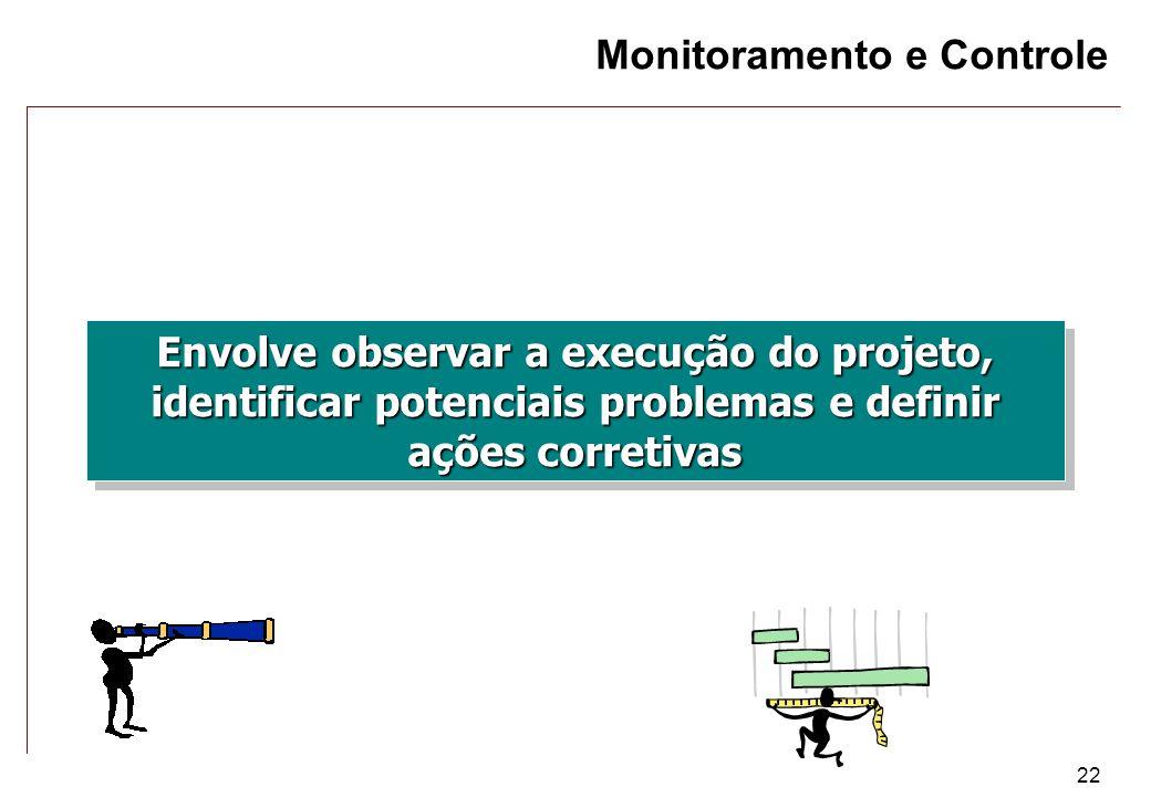 22 Monitoramento e Controle Envolve observar a execução do projeto, identificar potenciais problemas e definir ações corretivas