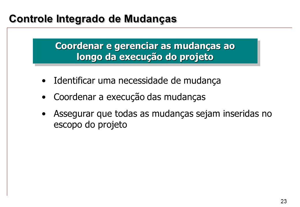 23 Controle Integrado de Mudanças Coordenar e gerenciar as mudanças ao longo da execução do projeto Identificar uma necessidade de mudança Coordenar a
