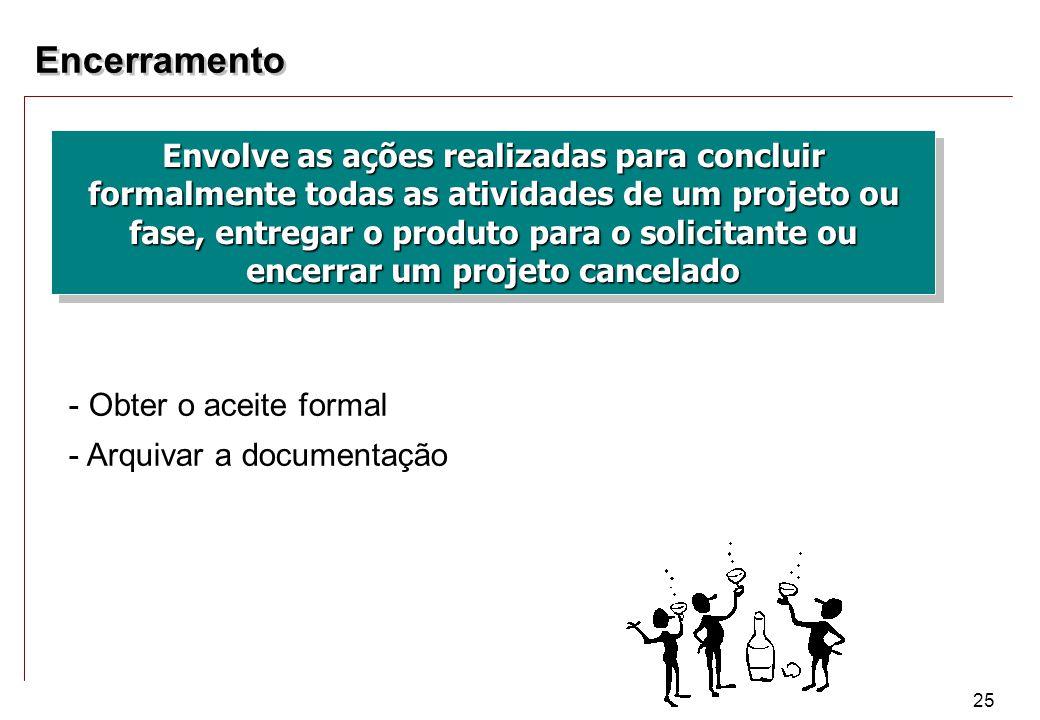 25 Encerramento - Obter o aceite formal - Arquivar a documentação Envolve as ações realizadas para concluir formalmente todas as atividades de um proj