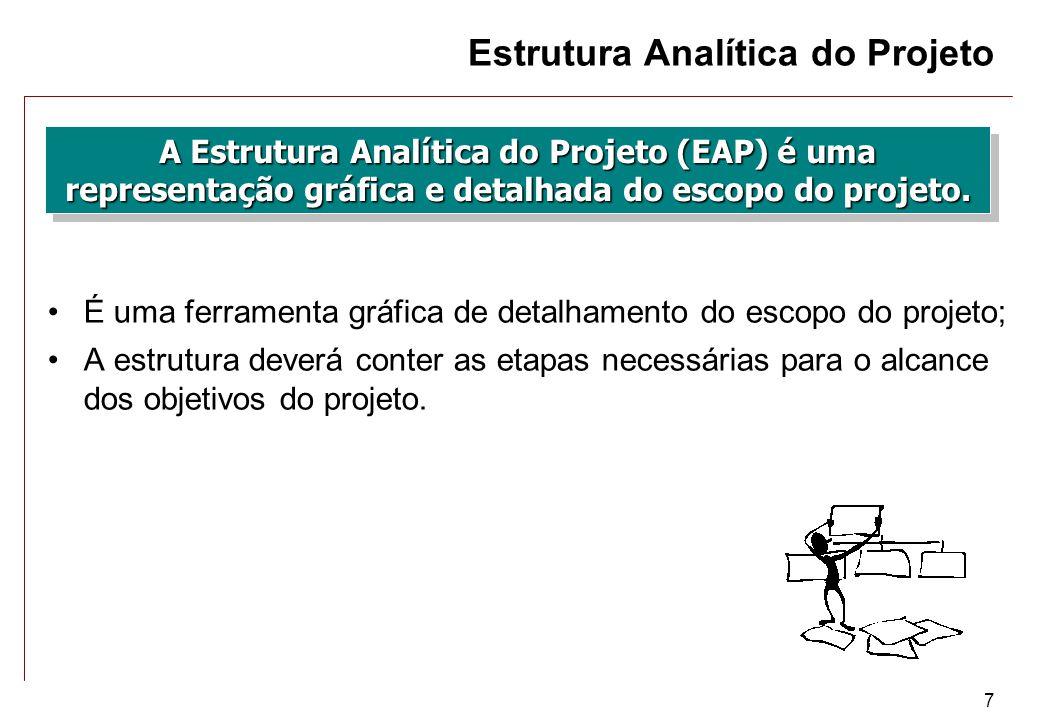 7 Estrutura Analítica do Projeto A Estrutura Analítica do Projeto (EAP) é uma representação gráfica e detalhada do escopo do projeto. É uma ferramenta