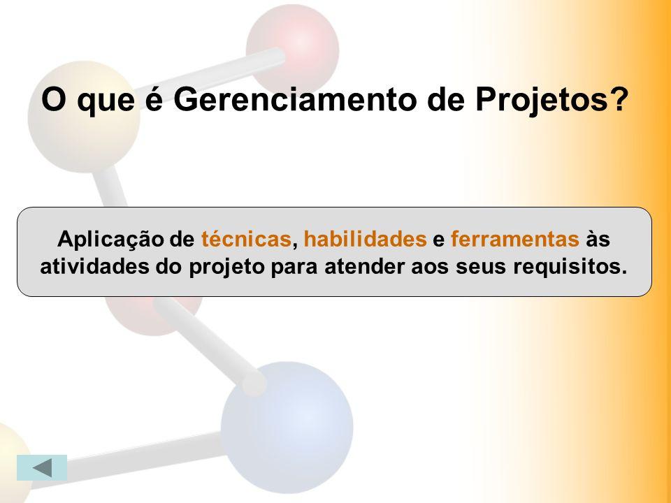 O que é Gerenciamento de Projetos? Aplicação de técnicas, habilidades e ferramentas às atividades do projeto para atender aos seus requisitos.