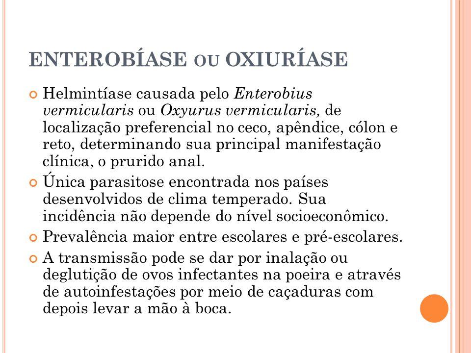 ENTEROBÍASE OU OXIURÍASE Helmintíase causada pelo Enterobius vermicularis ou Oxyurus vermicularis, de localização preferencial no ceco, apêndice, cólon e reto, determinando sua principal manifestação clínica, o prurido anal.