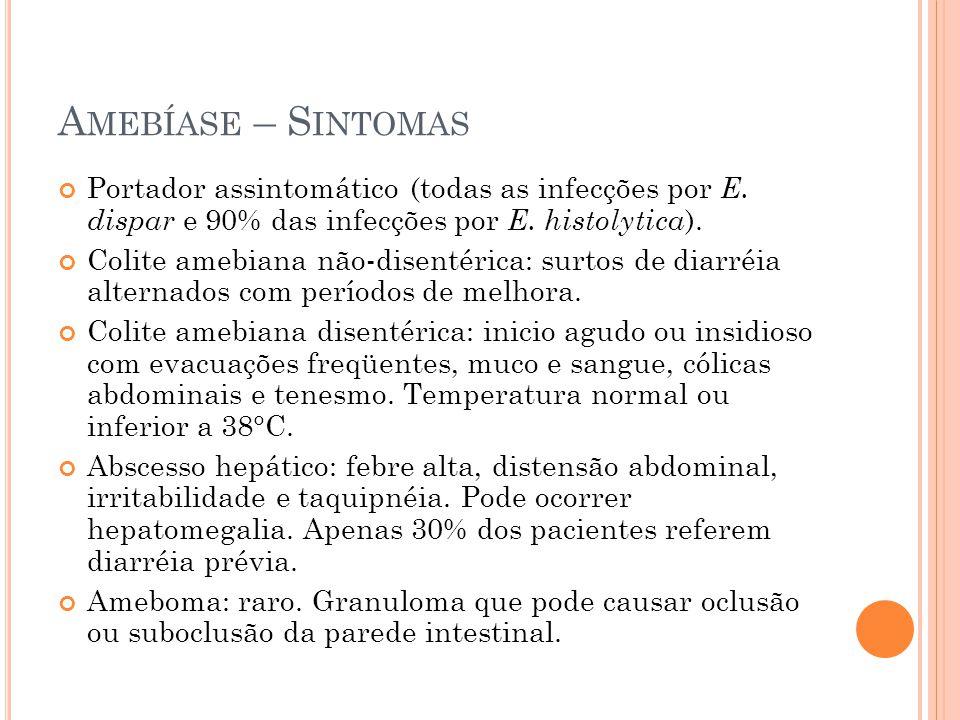 A MEBÍASE – S INTOMAS Portador assintomático (todas as infecções por E.
