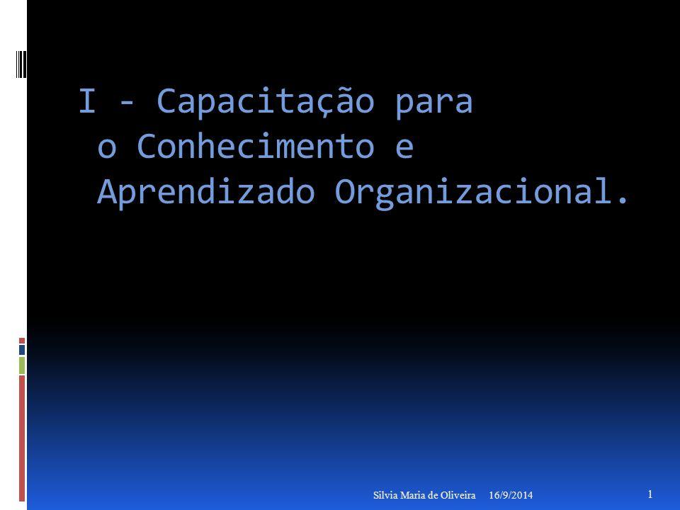 I - Capacitação para o Conhecimento e Aprendizado Organizacional.