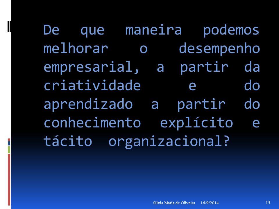 De que maneira podemos melhorar o desempenho empresarial, a partir da criatividade e do aprendizado a partir do conhecimento explícito e tácito organizacional.