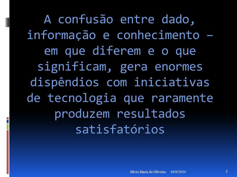 A confusão entre dado, informação e conhecimento – em que diferem e o que significam, gera enormes dispêndios com iniciativas de tecnologia que raramente produzem resultados satisfatórios 16/9/2014Silvia Maria de Oliveira 3