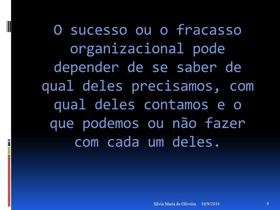 O sucesso ou o fracasso organizacional pode depender de se saber de qual deles precisamos, com qual deles contamos e o que podemos ou não fazer com cada um deles.