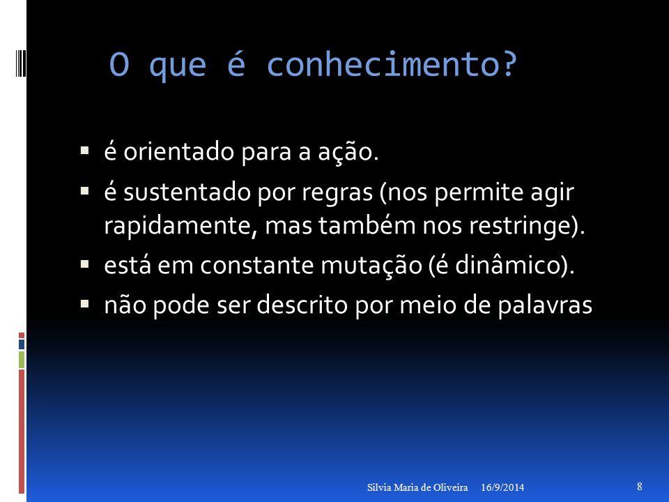 Mais características do conhecimento  Recurso ilimitado, intangível e difícil de imitar,  recurso altamente reutilizável (não se deprecia com o uso) 16/9/2014Silvia Maria de Oliveira 9