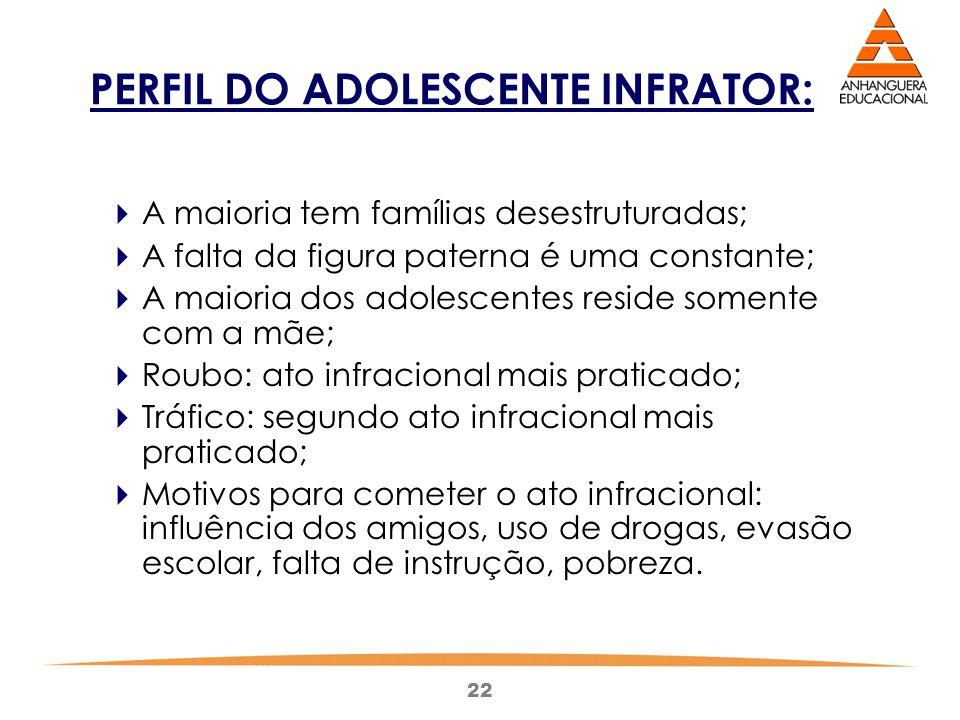 22 PERFIL DO ADOLESCENTE INFRATOR:  A maioria tem famílias desestruturadas;  A falta da figura paterna é uma constante;  A maioria dos adolescentes