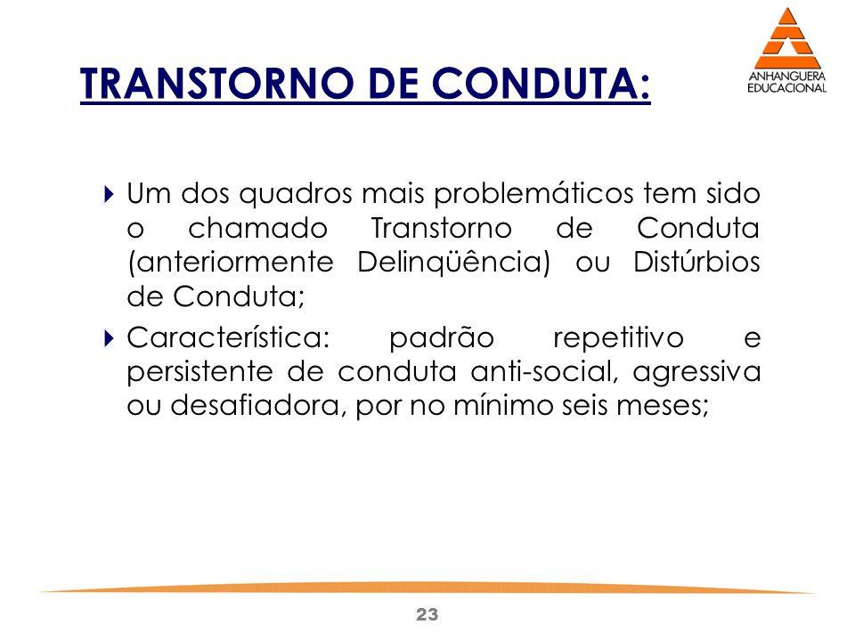 23 TRANSTORNO DE CONDUTA:  Um dos quadros mais problemáticos tem sido o chamado Transtorno de Conduta (anteriormente Delinqüência) ou Distúrbios de C