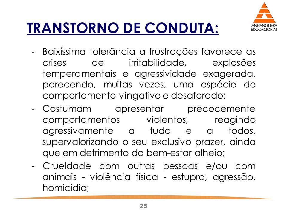 25 TRANSTORNO DE CONDUTA: - Baixíssima tolerância a frustrações favorece as crises de irritabilidade, explosões temperamentais e agressividade exagera