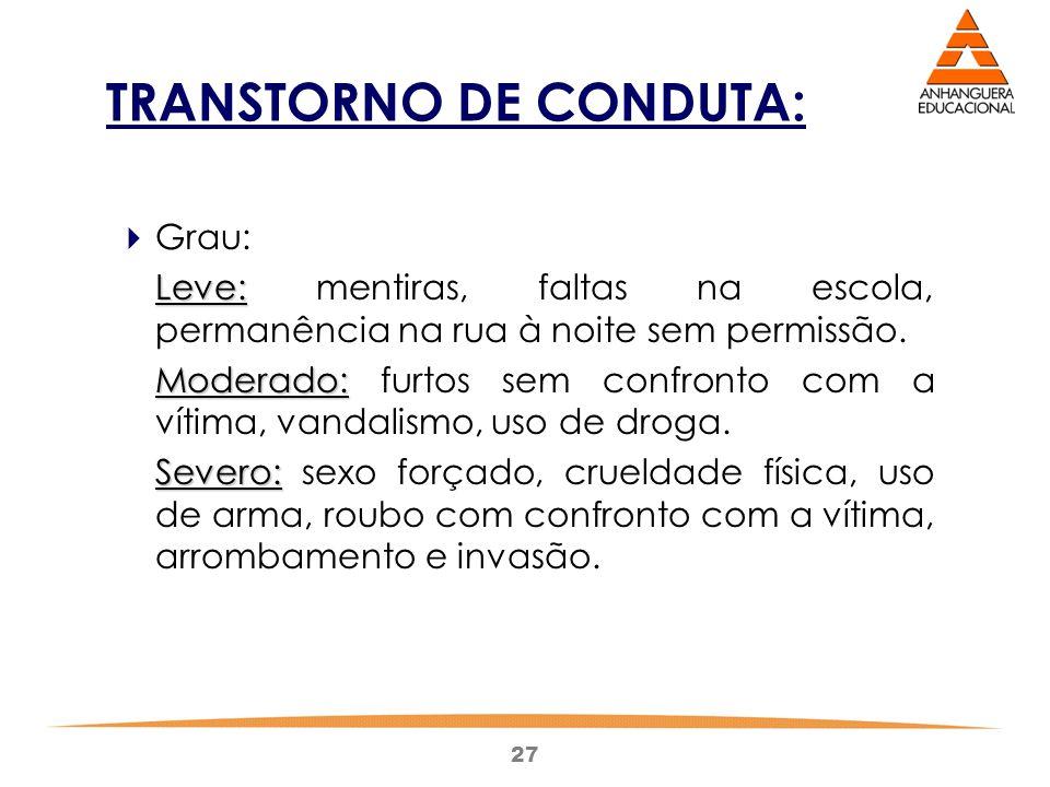 27 TRANSTORNO DE CONDUTA:  Grau: Leve: Leve: mentiras, faltas na escola, permanência na rua à noite sem permissão.