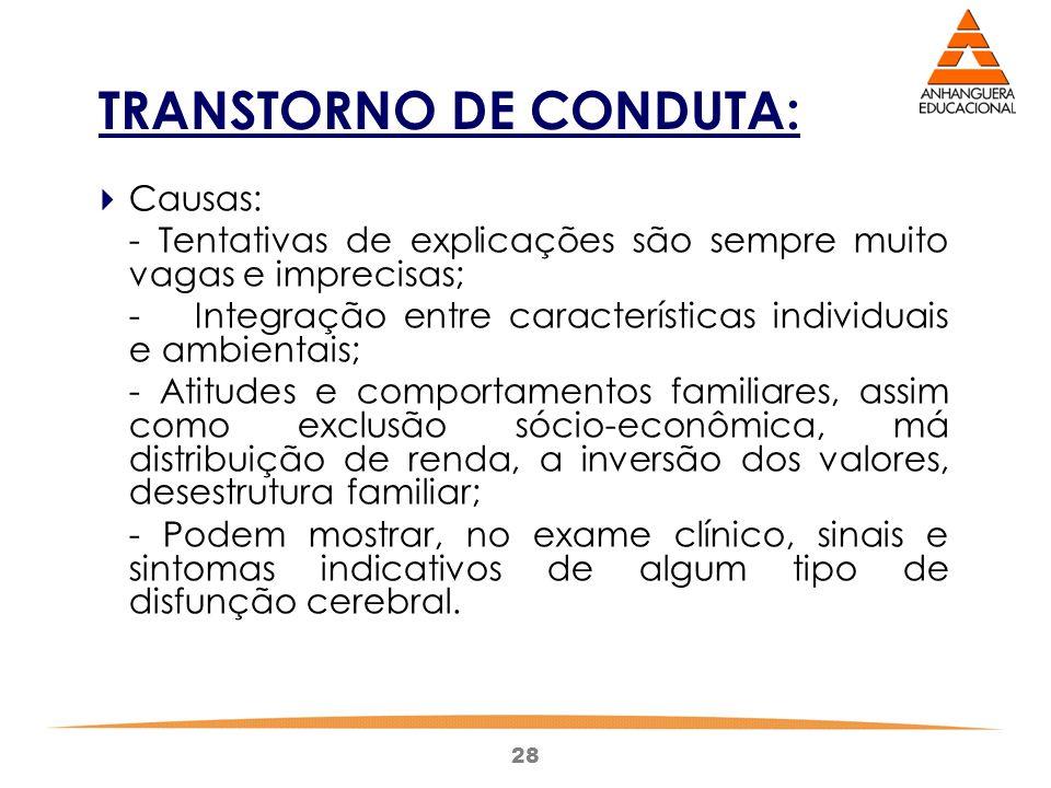 28 TRANSTORNO DE CONDUTA:  Causas: - Tentativas de explicações são sempre muito vagas e imprecisas; -Integração entre características individuais e a