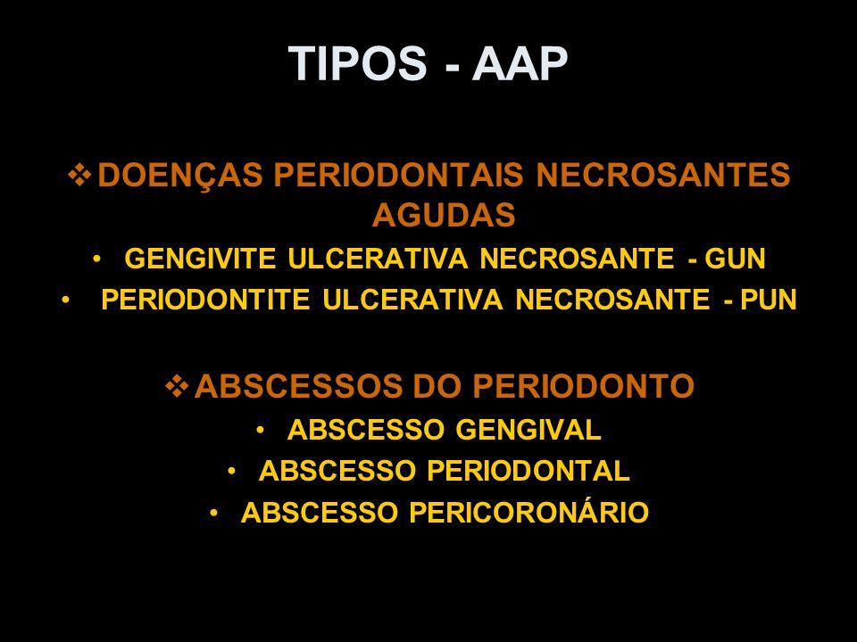 TIPOS - AAP   DOENÇAS PERIODONTAIS NECROSANTES AGUDAS GENGIVITE ULCERATIVA NECROSANTE - GUN PERIODONTITE ULCERATIVA NECROSANTE - PUN   ABSCESSOS D