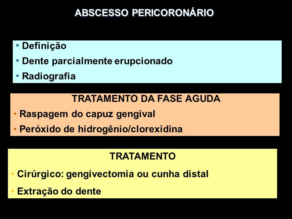 ABSCESSO PERICORONÁRIO Definição Dente parcialmente erupcionado Radiografia TRATAMENTO DA FASE AGUDA Raspagem do capuz gengival Peróxido de hidrogênio