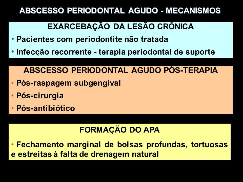 ABSCESSO PERIODONTAL AGUDO - MECANISMOS EXARCEBAÇÃO DA LESÃO CRÔNICA Pacientes com periodontite não tratada Infecção recorrente - terapia periodontal