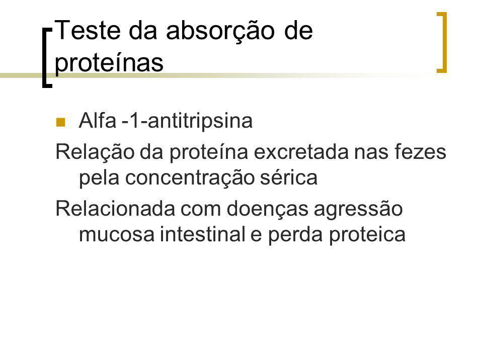Teste da absorção de proteínas Alfa -1-antitripsina Relação da proteína excretada nas fezes pela concentração sérica Relacionada com doenças agressão