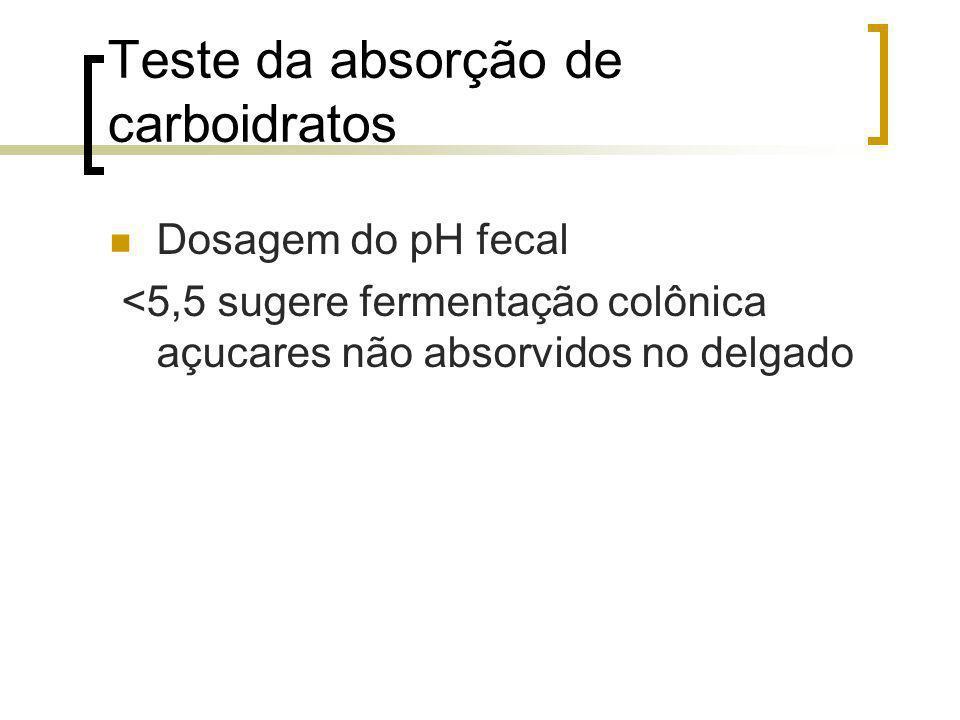 Teste da absorção de carboidratos Dosagem do pH fecal <5,5 sugere fermentação colônica açucares não absorvidos no delgado