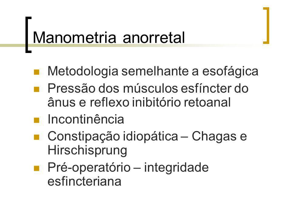 Manometria anorretal Metodologia semelhante a esofágica Pressão dos músculos esfíncter do ânus e reflexo inibitório retoanal Incontinência Constipação