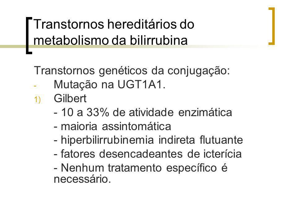 Transtornos hereditários do metabolismo da bilirrubina Transtornos genéticos da conjugação: - Mutação na UGT1A1. 1) Gilbert - 10 a 33% de atividade en