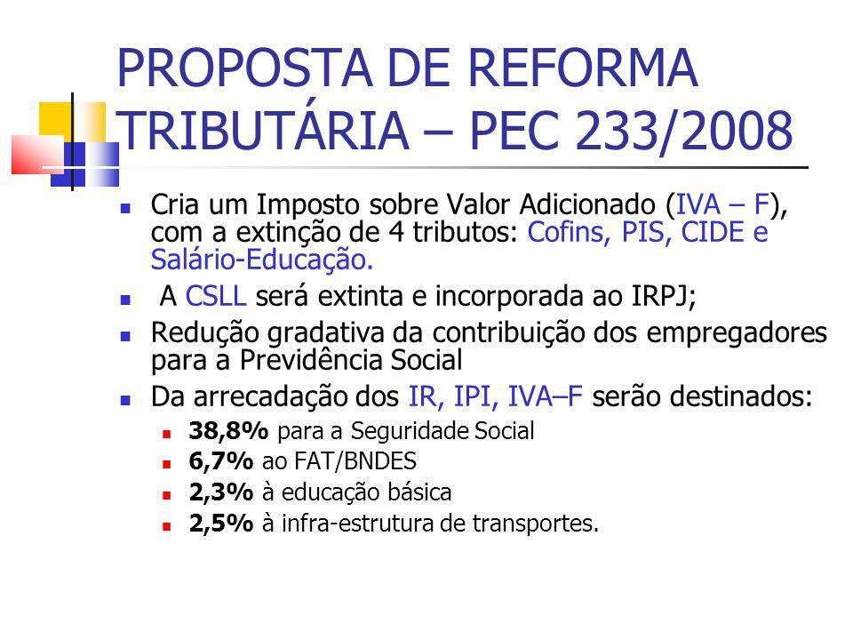 PROPOSTA DE REFORMA TRIBUTÁRIA – PEC 233/2008 Cria um Imposto sobre Valor Adicionado (IVA – F), com a extinção de 4 tributos: Cofins, PIS, CIDE e Salário-Educação.