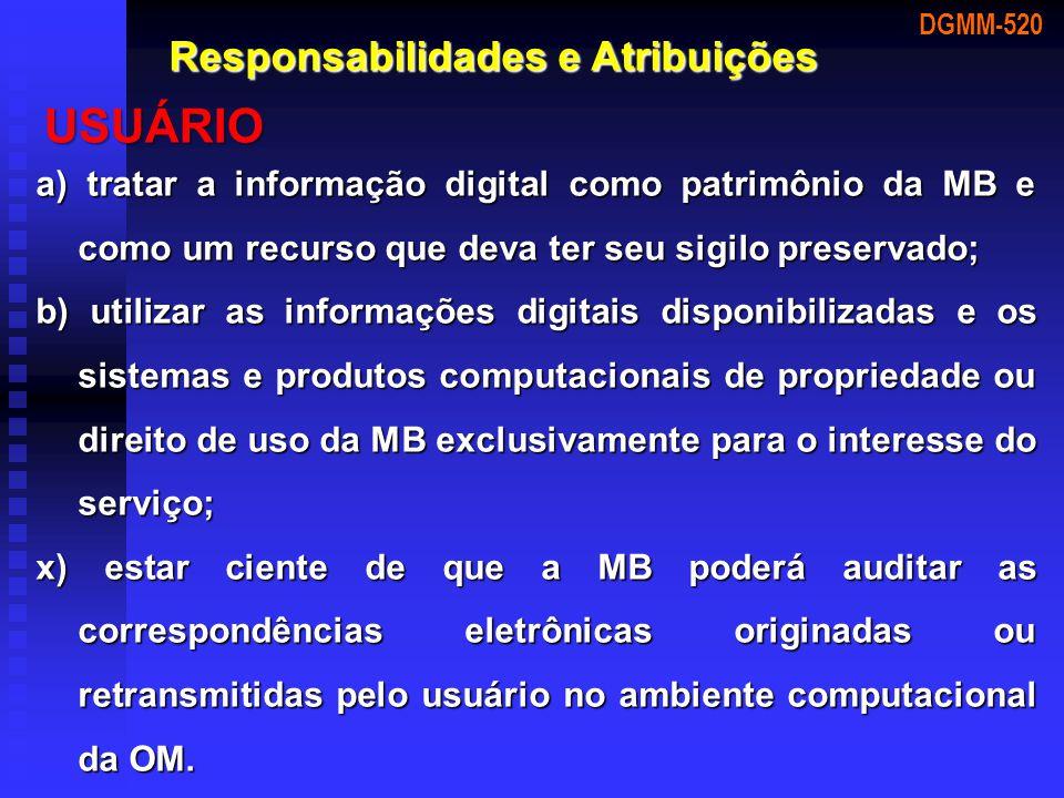 a) tratar a informação digital como patrimônio da MB e como um recurso que deva ter seu sigilo preservado; b) utilizar as informações digitais disponi