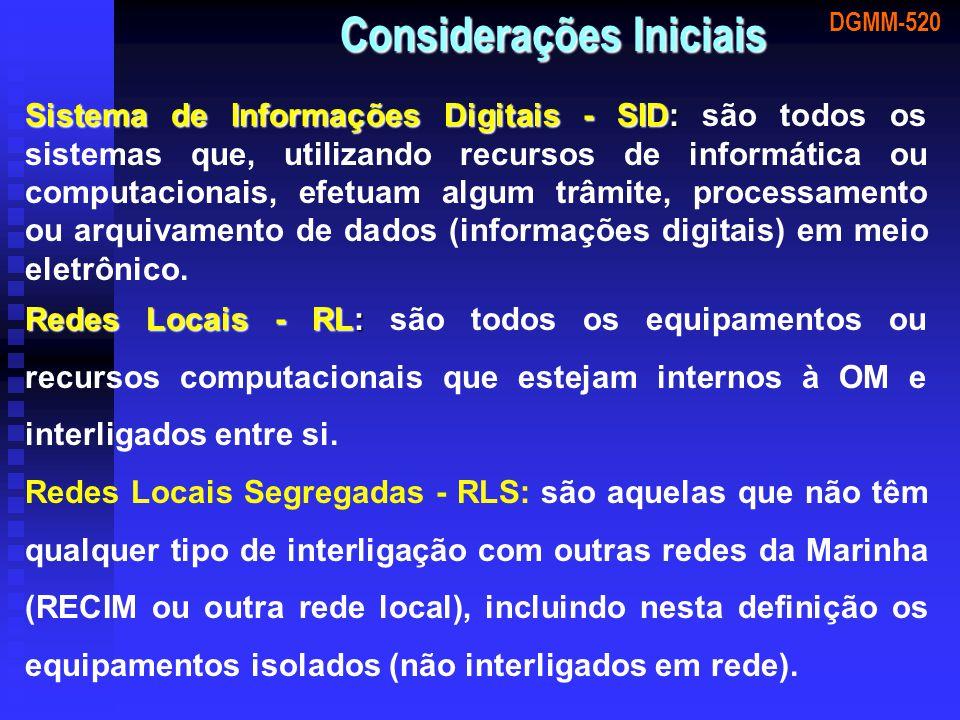 DGMM-520 Considerações Iniciais Sistema de Informações Digitais - SID: Sistema de Informações Digitais - SID: são todos os sistemas que, utilizando re