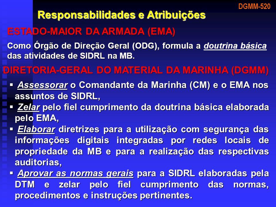 DGMM-520 Responsabilidades e Atribuições ESTADO-MAIOR DA ARMADA (EMA) Como Órgão de Direção Geral (ODG), formula a das atividades de SIDRL na MB. Como