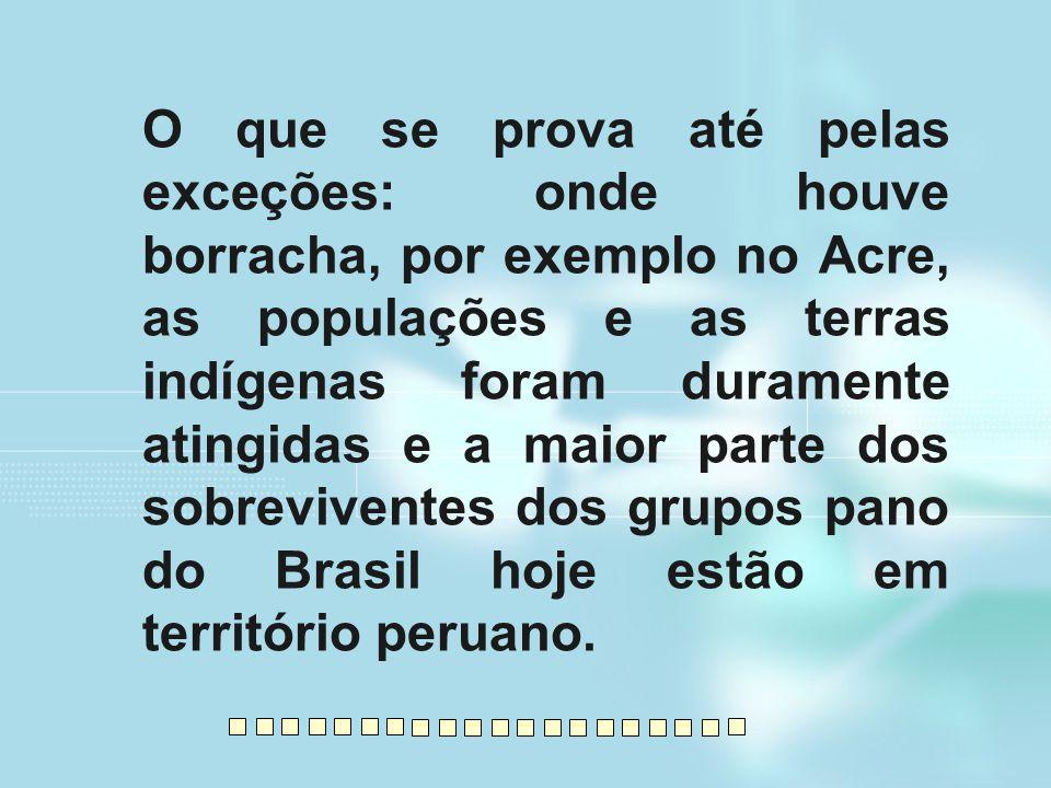 O que se prova até pelas exceções: onde houve borracha, por exemplo no Acre, as populações e as terras indígenas foram duramente atingidas e a maior p