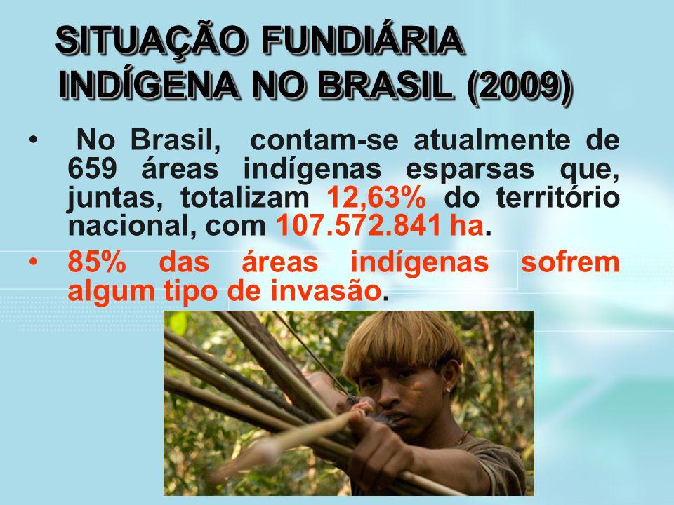 SITUAÇÃO FUNDIÁRIA INDÍGENA NO BRASIL (2009) SITUAÇÃO FUNDIÁRIA INDÍGENA NO BRASIL (2009) No Brasil, contam-se atualmente de 659 áreas indígenas espar